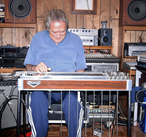 Buddy Emmons playing an Emmons steel guitar set up at Steel Guitar East