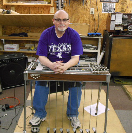 Johnny Cox with his Emmons steel guitar