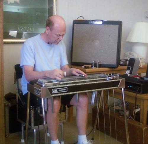 Tom Brumley, the day he received his restored ZB steel guitar from Steel Guitar East